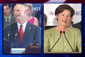 Republican Rick Scott isn't so sure about transit or high speed rail. Democrat Alex Sink has her mind made up. Image: ##http://www.cfnews13.com/article/news/2010/september/149083/Scott-Sink-set-debate-dates## News 13##