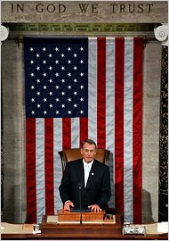 John Boehner takes the gavel. Photo: ##http://www.nytimes.com/2011/01/06/us/politics/06cong.html##NYT##