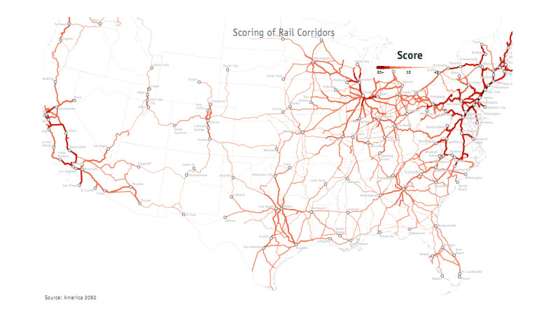 The darkest reds are the places with the best chances for success with high speed rail. Courtesy of ##http://www.america2050.org/##America 2050##