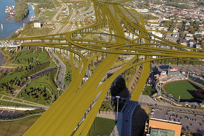 State leaders in Kentucky want to build this $2.6 billion monstrosity right next to downtown Louisville. Image: ##http://8664.org/mt-static/8664/demo/1578/1578_8664ORG_Crossroads.html## 8668##