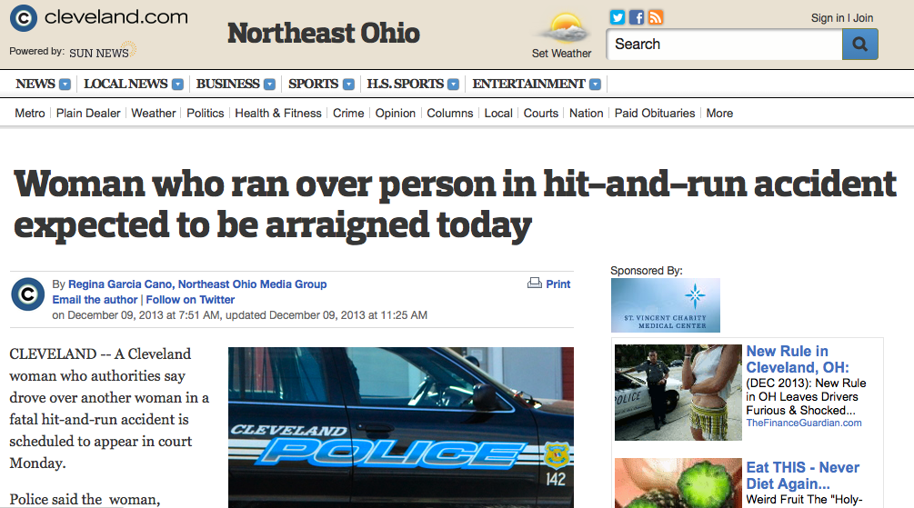 "The Cleveland Plain Dealer uses the term ""accident"" to describe a collision that led to vehicular homicide charges. The Associated Press' editors have cautioned against using this term, but haven't made it part of the organization's all-important Style Guide for journalists. Image: ##http://www.cleveland.com/metro/index.ssf/2013/12/woman_who_ran_over_person_in_h.html## Cleveland.com##"