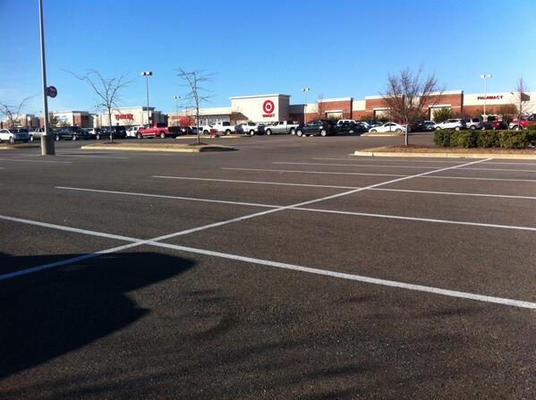 Twitter user ##http://streetsblog.net/2013/12/02/scenes-of-half-empty-parking-lots-on-the-busiest-shopping-day-of-the-year/##@jmerdockphoto## took this shot of a Target in Southaven, Mississippi on the busiest shopping day of the year. #timetoendparkingminimums