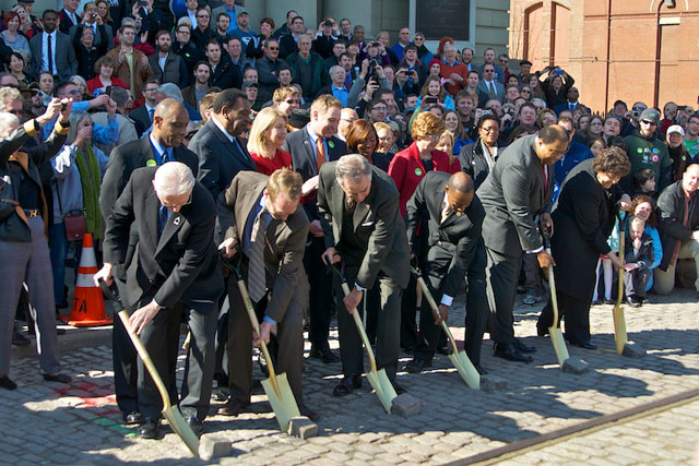 Five hundred supporters came out for the groundbreaking of the Cincinnati streetcar two years ago. Because of their perseverance, the project has a new lease on life. Photo: ##http://allaboardohio.org/2012/02/17/cincinnati-streetcar-breaks-ground/##All Aboard Ohio##