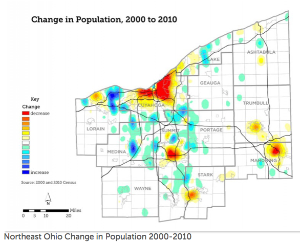 Cleveland, Akron and Youngstown -- all bright red -- have shed population in recent decades as the region has sprawled. Image: NEOSCC (Click to enlarge.)