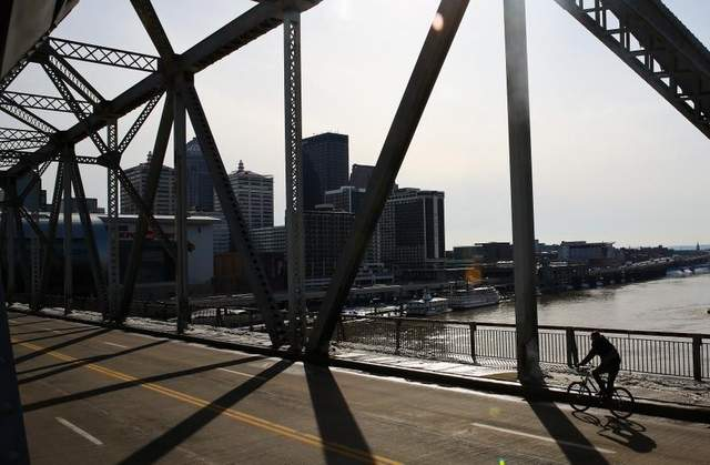 Louisville officials say cyclists and pedestrians who use the Second Street Bridge are out of luck for the next few months. Photo: Courier Journal