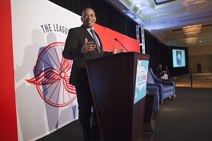 Sec. Foxx told hundreds gathered for the Bike Summit that he won't stand still and allow bike and pedestrian injuries and fatalities to increase. Photo: Brian Palmer, via the ##http://www.bikeleague.org/content/sec-foxx-shares-support-bikes##Bike League##