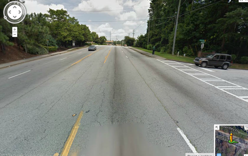 "Here's a closeup of Pleasantdale Road, our ""winner."" Image: Google Maps"