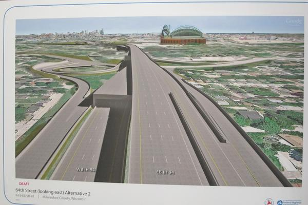 The Wisconsin Department of Transportation is considering building a double-decker freeway in Milwaukee. Image: WISDOT