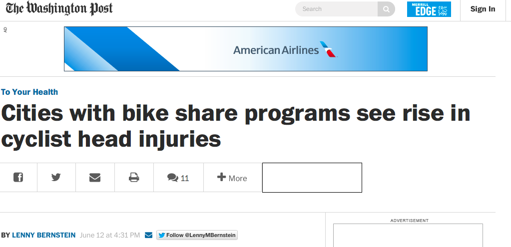 Image: Washington Post headline, at 1:39 p.m. Friday, showed a headline that said, incorrectly, that bike sharing cities saw an increase in head injuries. Image: Washington Post