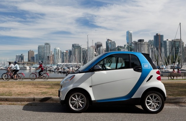 One-way services like Car2go has continued to increase the popularity of car-sharing. Photo: ##http://www.vancitybuzz.com/2011/10/car2go-vancouver-free-registration-minutes/##VanCityBuzz##