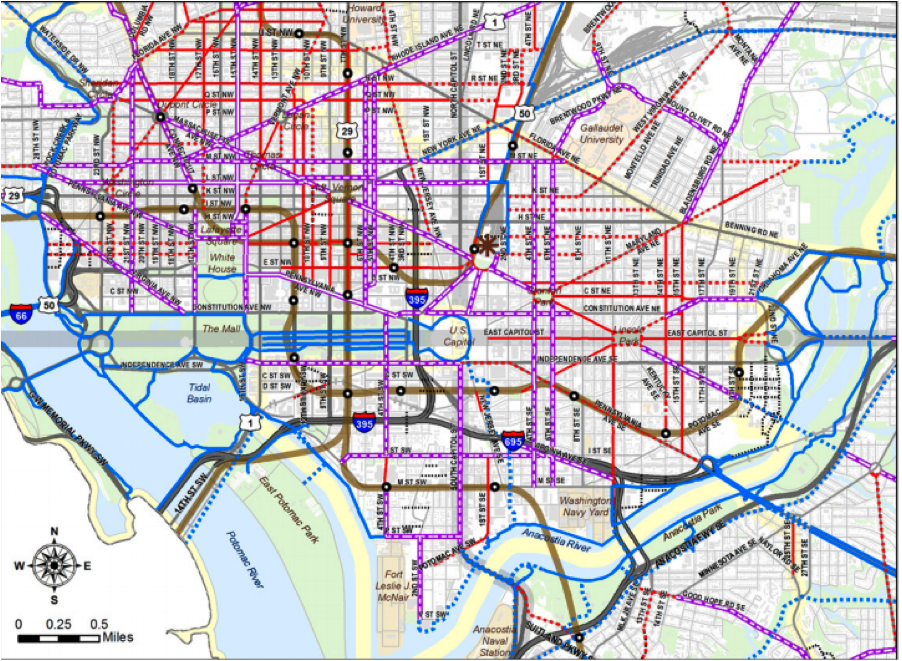 Those dotted purple lines are protected bike lane the city plans to build. This is just the downtown zoom, but other maps show plans to build these lanes all over the city. Image: DDOT