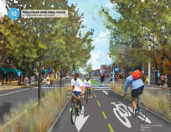 A local group is proposing repurposing old streetcar rights of way into protected bike lanes. Image: Bialosky & Partners