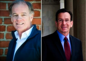 Republican Tom Foley, left, is challenging Connecticut Gov. Dan Malloy, right.