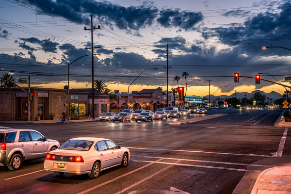 Pima County is insisting on widening Broadway Avenue, whether Tucson wants it or not. Photo: Jude Ignacio and Gerardine Vargas via ##http://blog.preservationleadershipforum.org/2014/02/11/sunshine-mile/#.VIi7kWTF9Ns##Preservation Leadership Forum##