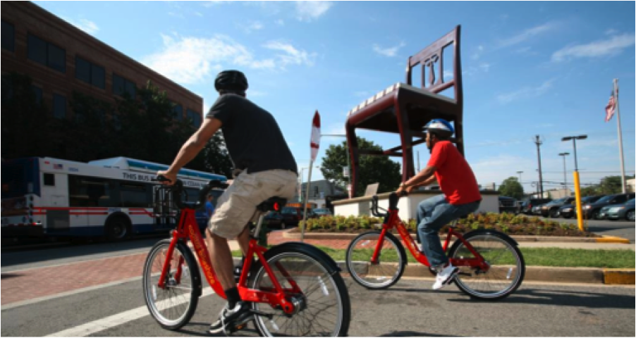 Capital Bikeshare struggles to accommodate low-income users, despite outreach efforts, station siting in low-income areas, subsidies, and efforts to include those without bank accounts. Photo: DDOT, via ##https://www.livingcities.org/blog/740-how-can-shared-mobility-help-connect-low-income-people-to-opportunity##ITDP##