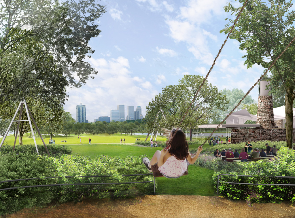 Tulsa's planned $350 million new park, A Gathering Place, promises all the best in urban park amenities. But thanks to the city's mayor, it may lack sidewalk access. Image: Agatheringplacefortulsa.com