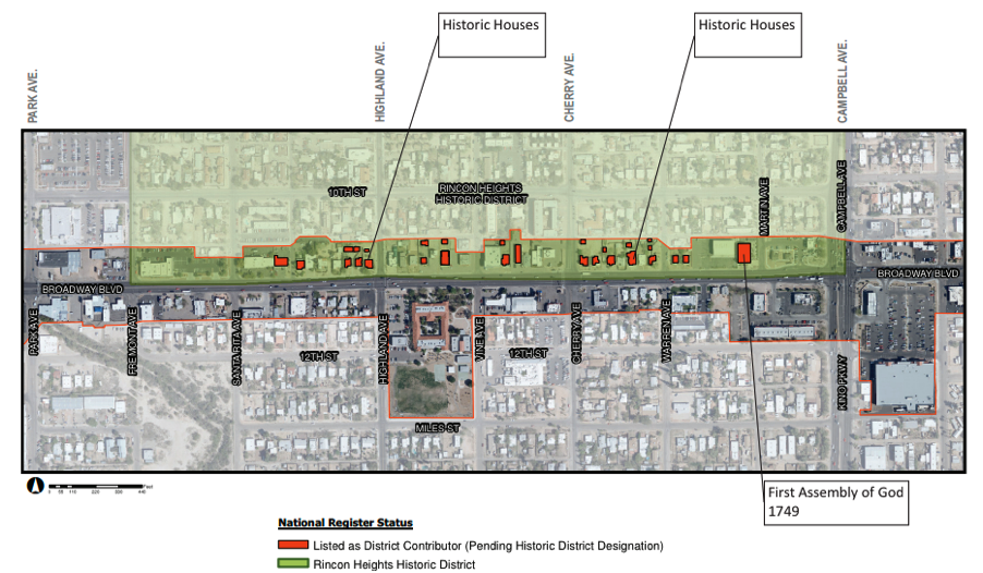 This diagram shows the properties at risk on just one segment of Broadway.