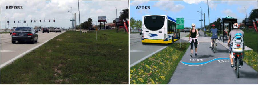 Transformations like this one, in Lee County, Florida, are what TIGER is all about. Images: ##http://www.leegov.com/gov/dept/sustainability/Documents/Lee%20County%20TIGER%20v%20Grant%20Narrative.pdf##Lee County##
