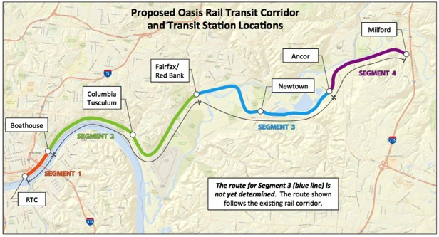 """The proposal for """"Oasis"""" commuter rail along the highway would serve small villages and scarcely populated areas. Image: Easterncorridor.org"""
