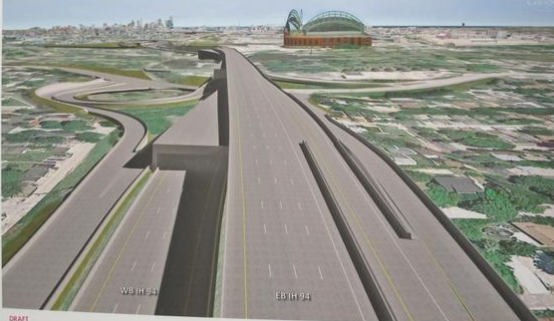 Wisconsin Department of Transportation rendering of their proposed, but now rejected, plan for a double decker freeway in Milwaukee.