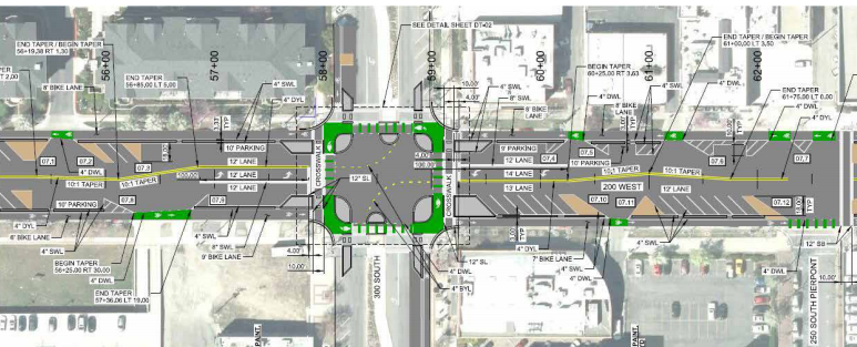 The intersection of 300 South and 200 West in Salt Lake City is on track to be the first protected intersection in the U.S. Image: Salt Lake City
