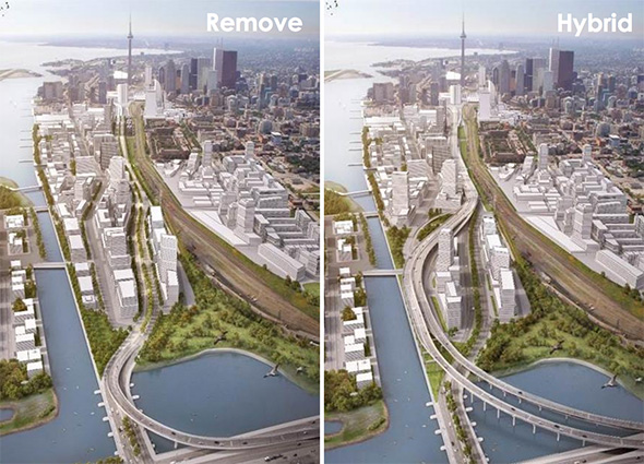 Toronto could have had a waterfront boulevard but the Council voted to keep an elevated highway instead. Image: ##http://www.blogto.com/city/2015/06/toronto_votes_for_hybrid_option_on_east_gardiner/##Blog TO##