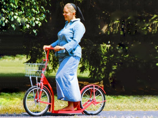 It's not quite a bike, but it'll get you in the bicycle top 100. Photo: ##Inhabitat##http://inhabitat.com/amish-designers-hand-made-these-colorful-kick-scooters-on-a-farm-in-pennsylvania/##