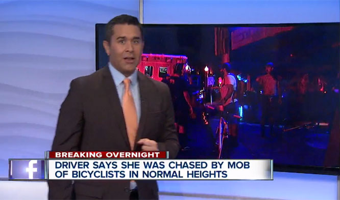 "The ""mob"" was actually a group of people on bikes trying to flag down a motorist who had hit one of their friends and driven off, dragging his bike. Image: <a href=""http://www.10news.com/news/driver-bicyclists-tussle-in-normal-heights"" target=""_blank"">KGTV San Diego</a>"