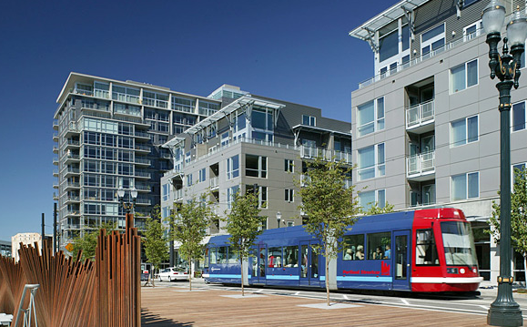 Transit-oriented development in Portland's Pearl District. Photo: Smartgrowth.org