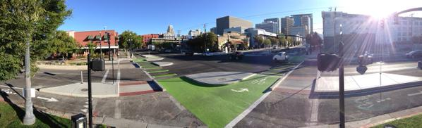 Salt Lake City's new protected intersection. Photo: Alta Planning