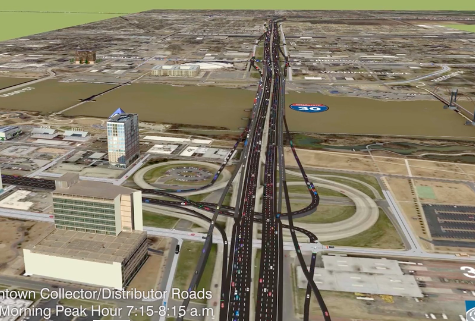 This is how highway planners envision the expanded road would look during morning rush hour in 40 years. Image: AHDT via Arkansas Times