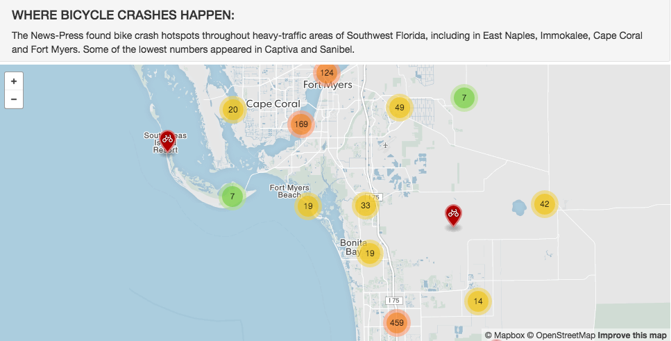 The News Press mapped the most dangerous locations for cyclists.