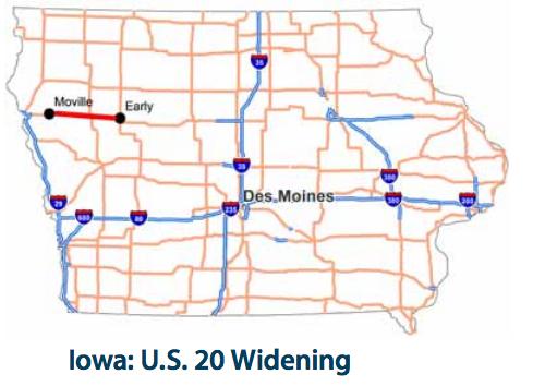 The section of U.S. 20 in Iowa that would be widened is shown in red. It will cost 40 percent of the revenue the state will receive from a recent gas tax. Image: U.S. PIRG