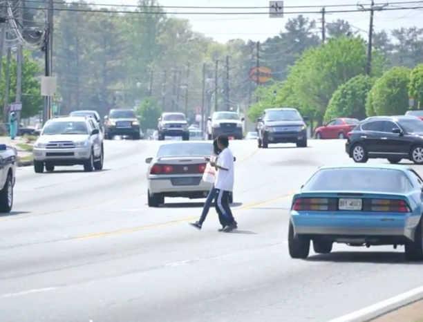Foxx used this image of the Atlanta area to launch a discussion about the disparities in sidewalk infrastructure in America.