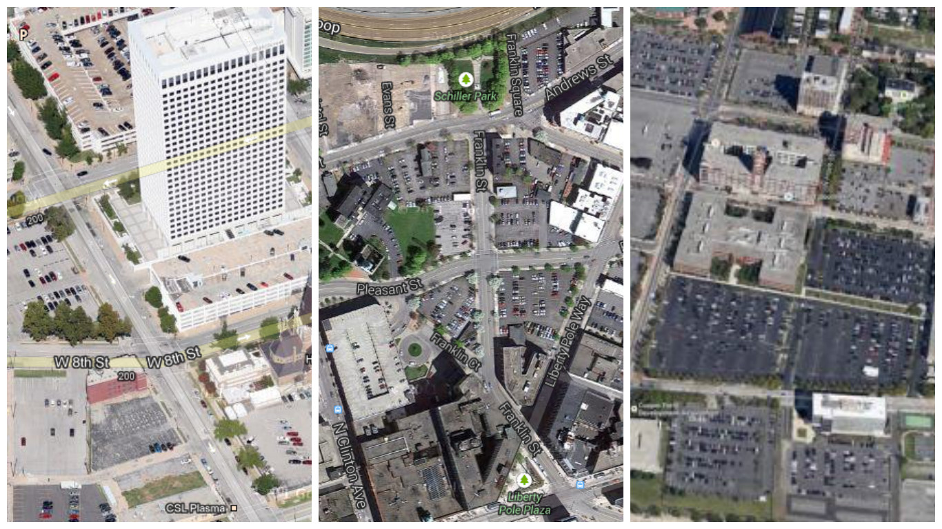 """Past """"Parking Madness"""" winners Tulsa (left), Rochester (center) and Camden (right)."""