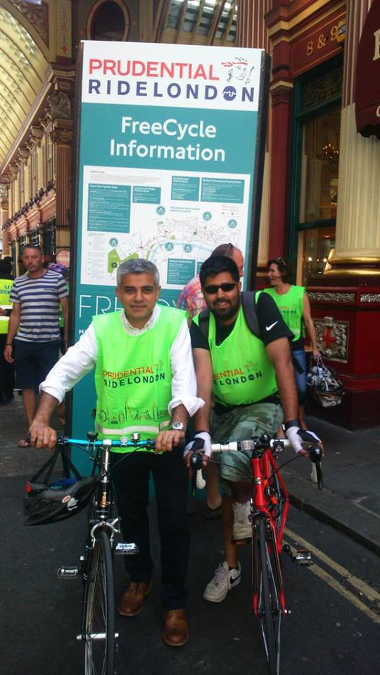 London's new Mayor Sadiq Khan says he wants to do better than Boris Johnson on cycling. Photo: Sadiq Khan on Facebook