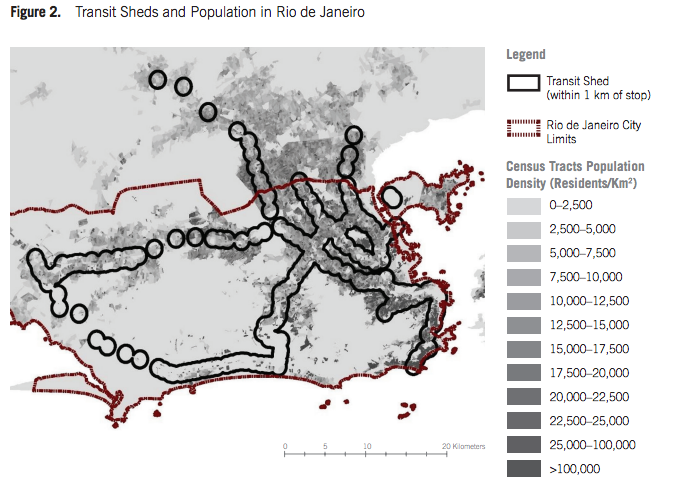 This map of population density in Rio de Janeiro shows growth opportunities for the transit system in the suburban areas. Map: ITDP