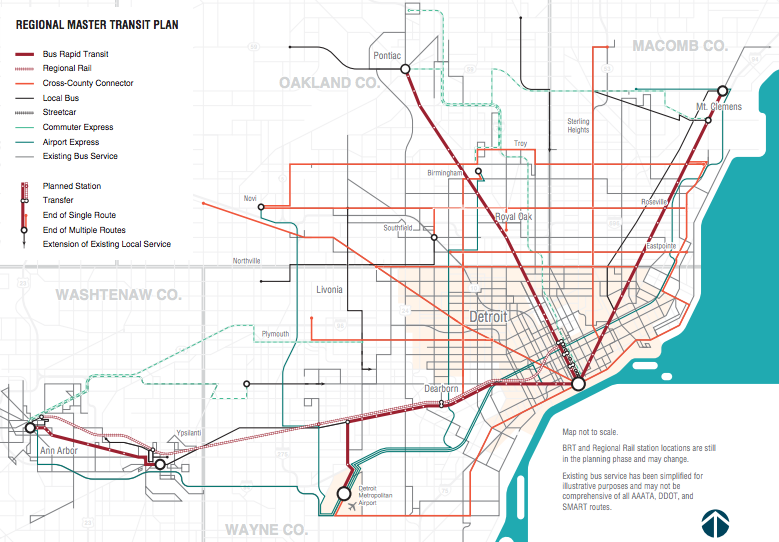 The highlight of metro Detroit's $4.6 billion transit plan is four bus rapid transit routes connecting the city to suburban job centers. Map: Michigan RTA. Click to enlarge.