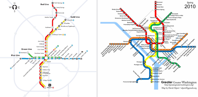 Atlanta's MARTA rail (left) hasn't been expanded since the 1970s. On the right, D.C.'s Metrorail, which has undergone continual expansions.