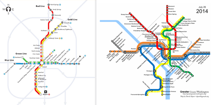 Atlanta's MARTA rail (left) hasn't expanded much since the 1980s. On the right, D.C.'s Metrorail, which has grown substantially. Credit: Greater Greater Washington