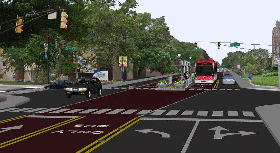 A rendering of Indianapolis' proposed Red Line BRT. Image via Indy Connect