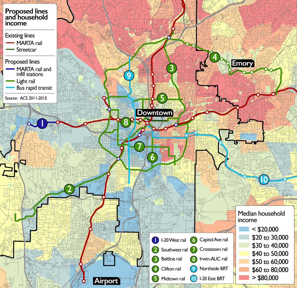 Atlantas Raising Billion To Invest In Transit Will It Be - Atlanta t montgomery rail on map of us