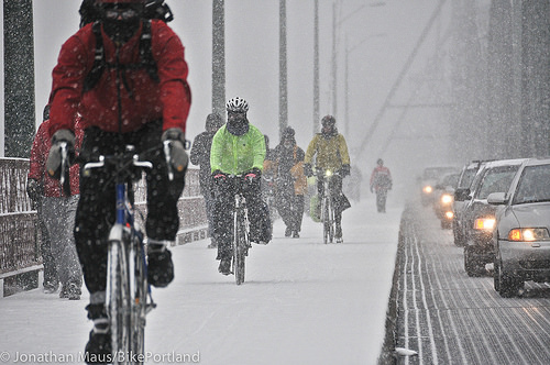 "The ""worst winter storm in years"" didn't stop cyclists in Portland. Image: Jonathan Maus, Bike Portland"