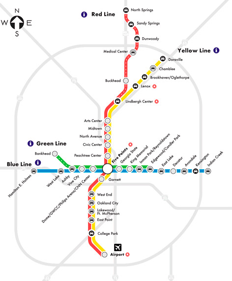 MARTA rail map. The system doesn't extend into growing suburban counties. Image: ATL Urbanist
