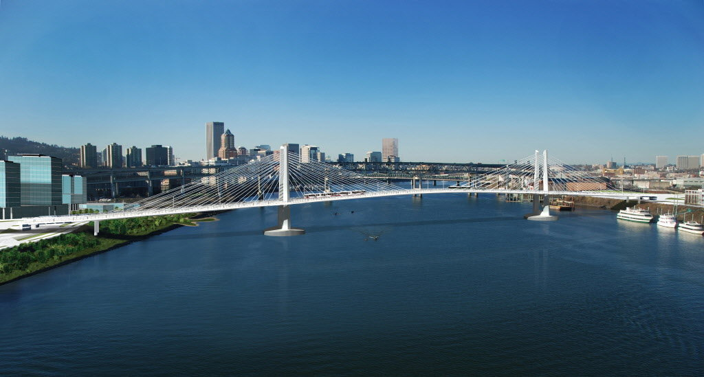 Photo: Portland's Tilikum Bridge will serve only sustainable transportation, in contrast to the Columbia River Crossing. Photo: Project website