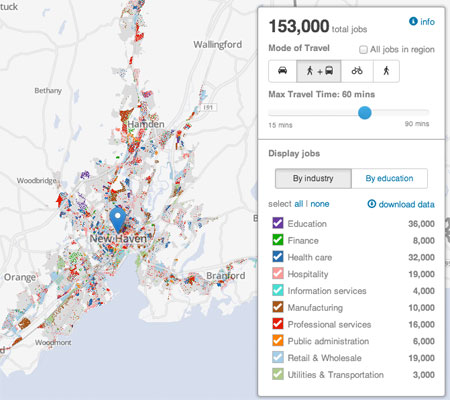 """The Regional Plan Association's new """"jobs access map"""" shows the relationship between geography and access to economic opportunity. Image: Regional Plan Association"""