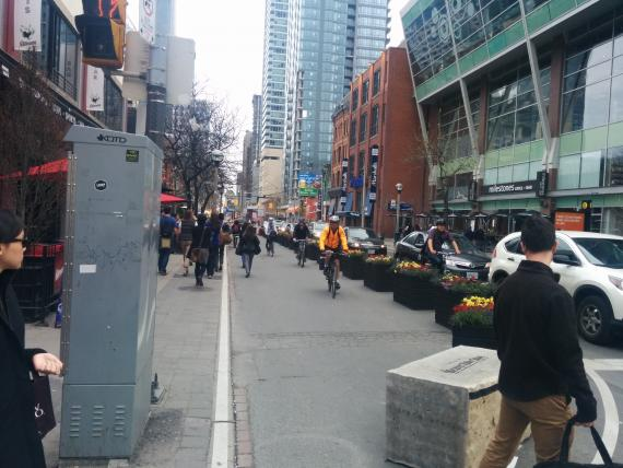 Cyclists don't seem to understand that this pilot pedestrian space isn't for them. Photo: I Bike TO