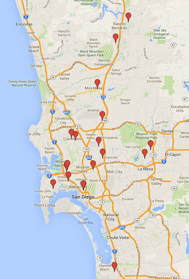 This map shows the location of the new lanes. Image: BikeSD