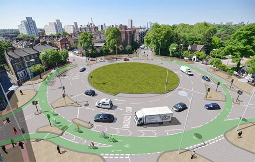 London is preparing to add a protected bike lane to one of its famous traffic circles. Image: City of London via Beyond DC