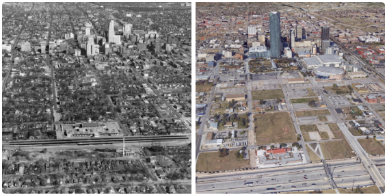 "Before and after shots of Oklahoma City's ""Core to Shore"" area. Image: The Oklahoman and Google Earth, via Dustin Akers."